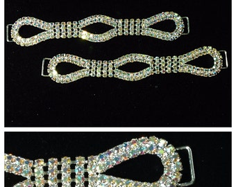 "A Pair of 5.75"" Infinity Rhinestone Bikini Connector in Crystal AB/Silver - High Quality! Competition Posing Suit"