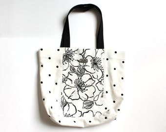 Black and White Flower and Polka Dot Tote Bag