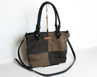 Brown and Black 2-way purse (shoulder bag cross body bag)