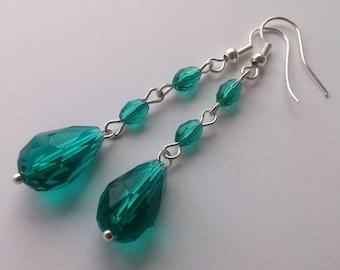 Ideal Teal , Dangling Crystal Earrings , Teal Earrings , Green Earrings , Dangle Earrings , Handmade Jewelry , Beaded Earrings