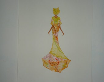 Original painting: Watercolor of an african woman