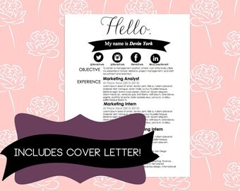 Resume and Cover Letter includes Social Media Icons ...