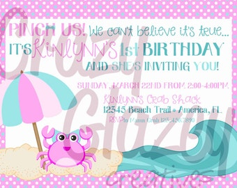 Pinch Us! 1st Birthday Crab Invitation!