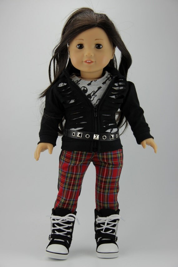 "American Girl doll clothes - 4 piece slashed hoodie, shirt, jeans, belt outfit (fits 18"" doll) (427gui)"
