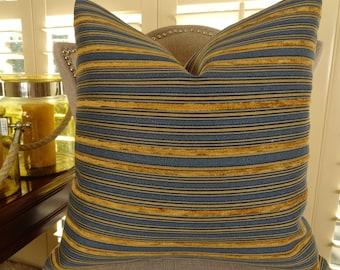 Stripe Blue Pillow - Blue Copper Tan Stripe Pillow - Designer Textured Pillow - Decorative Modern Stripe Pillow Cover - Throw Pillow - 11282