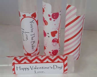 Classroom Favors Valentine's Day 12 backgrounds to choose from All Natural Lip Balms Personalized