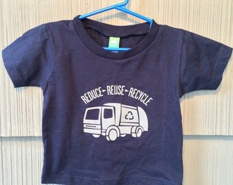 Reduce Reuse Recycle Garbage Truck Tshirt in Navy Blue