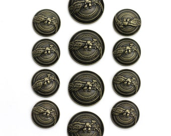 Sets of Antique Brass Eagle Buttons in Two Sizes