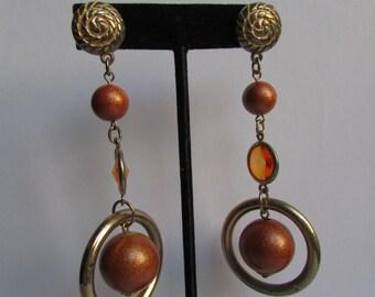 Vintage earring- Orange dangle drop earrings- 90s Jewelry