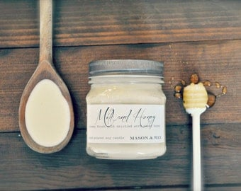 Milk & Honey Soy Candle - Mason Jar Candle - Scented Candle - Phthalate Free Soy Candle - Woman's gift idea - Hostess Gift