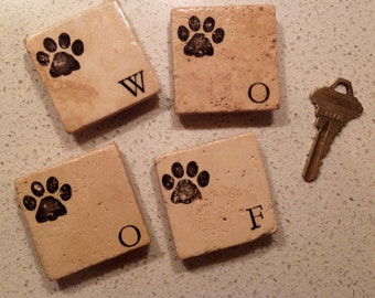 Set of 4 Magnets ~ Party Favors ~ Stone Magnets ~ Stamped Magnets ~ Wedding Favors ~ Dog Lovers