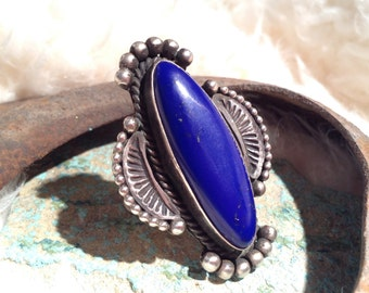 Vintage Old Pawn Lapis Lazuli Sterling Silver Handmade Ring (size 8.5)