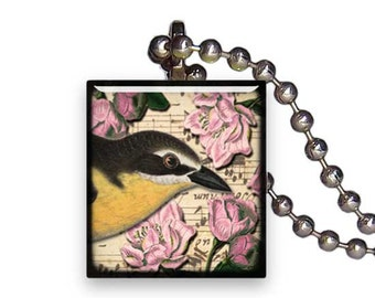 Black and Yellow Bird Roses - Reclaimed Scrabble Tile Pendant Necklace