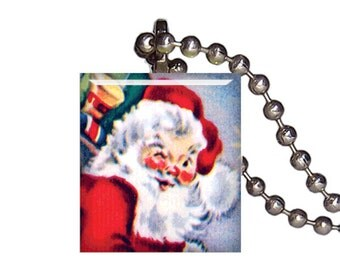 Vintage Christmas Jolly Santa Gifts - Reclaimed Scrabble Tile Pendant Necklace