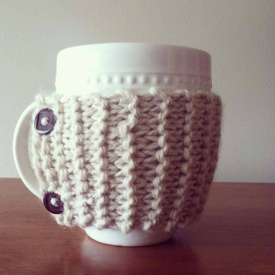 Free Knitting Pattern Coffee Cup Sleeve : Knit Coffee Cozy Knit Mug Cozy Coffee Cup Sleeve Mug