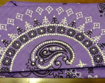 Purple Paisly Bling Bandanas
