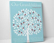 Grandparent Family Tree Gift - Grandchildren Family Tree - Up to 30 birds and names- Gift for Grandma and Grandpa - SKU#187