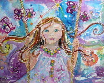 Art card *: girl on swing. Flowing hair. Happy/Optimistic/Little Girl/Long hair/Flowers/Swing/Rope/Blue Eyes