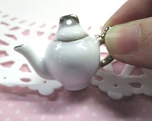 1 Miniature Porcelain Teapot with Lid, 1:12, White and Gold