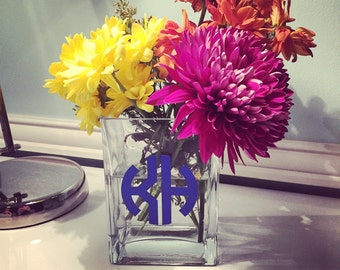 Glass Monogram Personalized Square Vase