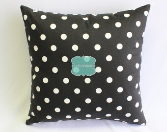 Pillow Cover - Premier Prints - POLKA DOTS - Black White - Home Decor Decorative Sofa Throw Pillow-Cover with Zipper Enclosure - Any Size