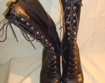 Black Leather Anne Klein Mid-Calf Granny Boots 6.5M