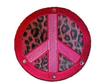 Large PINK leopard prInt peace sign with bling