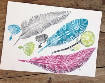 Feather, feather, 17 x 24 cm, watercolour and white ink, original