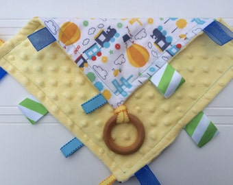 Baby Sensory Tag Blanket | Options: Natural Teething Ring, Crinkle Material, Color  | Train Adventure Baby Blanket