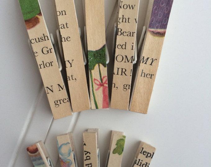 Vintage Children's Book Mini Clothespins