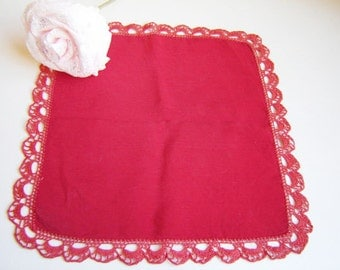 Lovely Bulgarian Handmade Red Napkin, Embroidery Handmade Napkin with crochet edges for Lunch or Tea. Gift idea! Free shipping!