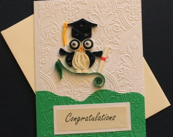 Quilled graduation card, quilled owl, quilled graduate