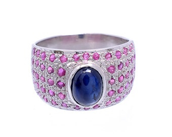 925 Sterling Silver Natural Ruby Gem Stone Ring Jewlery