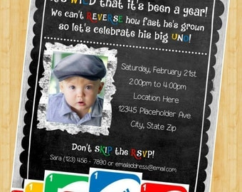 UNO Birthday Invite - First Birthday Invitation - DIY Printable File