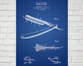 1902 Razor Patent Wall Art Poster, Home Decor, Gift Idea