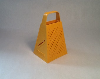 Hutzler Grater 4-Sided, Cheese Grater, Vegetable, Hand Held, Tangerine Color,  1970's