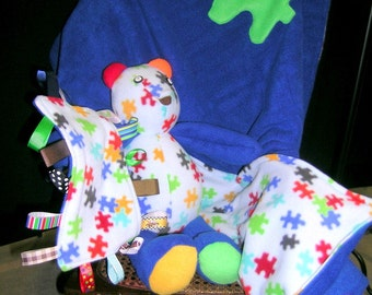 Custom baby gift set includes matching blanket, bear, and sensory blanket.