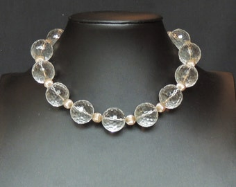 Faceted round clear quartz and sterling silver necklace