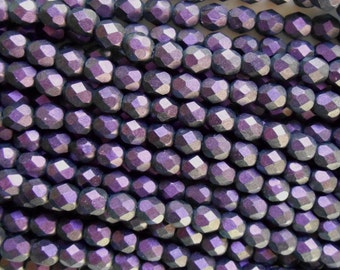 25 6mm Polychrome Black Currant Czech glass beads, deep, dark purple firepolished, faceted round beads, C4625