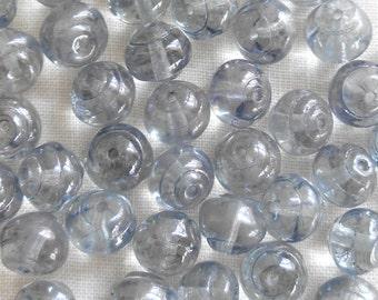 25 8mm Czech Baroque Lumi Blue iridescent glass snail beads C5425