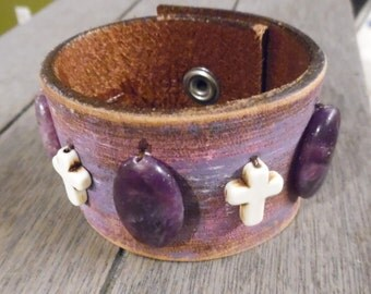 Purple Pink White Howlite Cross Leaf Beaded Brown Up-Cycled Leather Cuff Bracelet