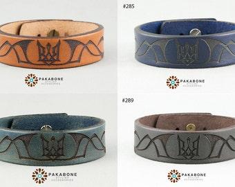 Wristband Mens Leather Bracelet Ukrainian Tryzub Trident