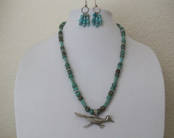 Roadrunner turquoise and silver necklace and earring set.