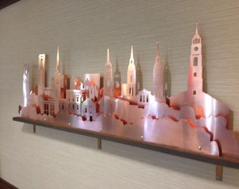 Frederick, MD - Frederick Spires Cityscape - Copper - A stunning visual representation of the beautiful church steeples and other buildings