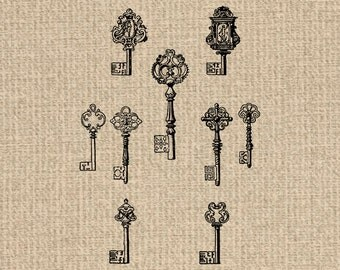 Printable Key Images Key Set Graphics Key Illustration Key Set Clipart Key Print 300dpi HQ