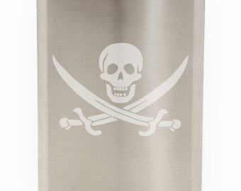 Skull And Crossed Pirates Swords Etched Hip Flask 8oz