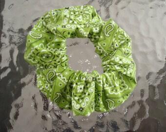 Colorful Green Bandana Fabric Hair Scrunchie, Ponytail Holder , Fashion Accessory , Scrunchie , Cotton