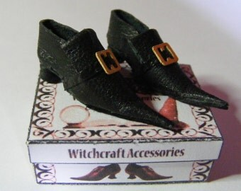 Handmade Miniature Black Witch or Wizard Dolls House Shoes