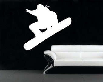 Snowboarder wall decal - snowboarding decor, snowboarding wall decal, winter decor, extreme sports, snow board, sports wall decals