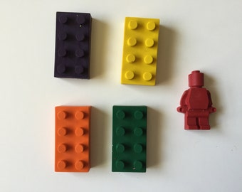 Lego Crayons Recycled Crayons Party Favors Bricks People Gifts Set of 10 Legoland Emmet